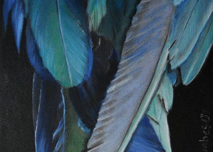 Parrot Greeting Card featuring the painting Feathers by Mary Hughes