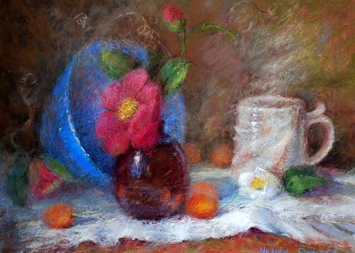 Still Life Greeting Card featuring the drawing Featured Blue Bowl  by Nancy Stutes