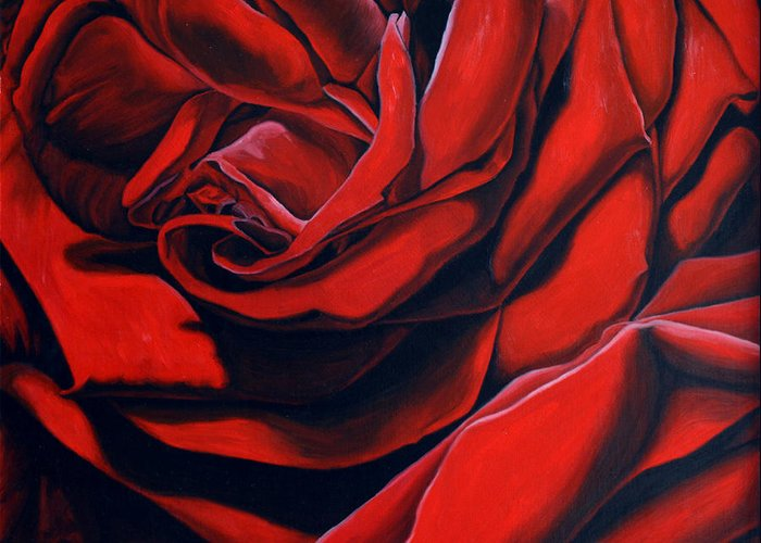 Rose Greeting Card featuring the painting February Rose by Thu Nguyen