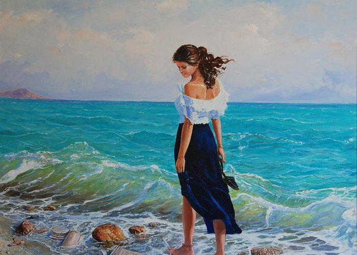 Seascape Greeting Card featuring the painting Fedio Eimi by Sefedin Stafa
