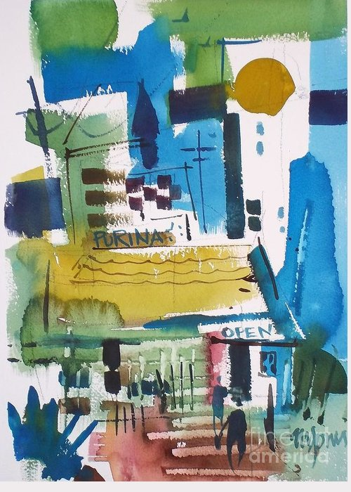 Watercolor Greeting Card featuring the painting Feed Mill by Micheal Jones