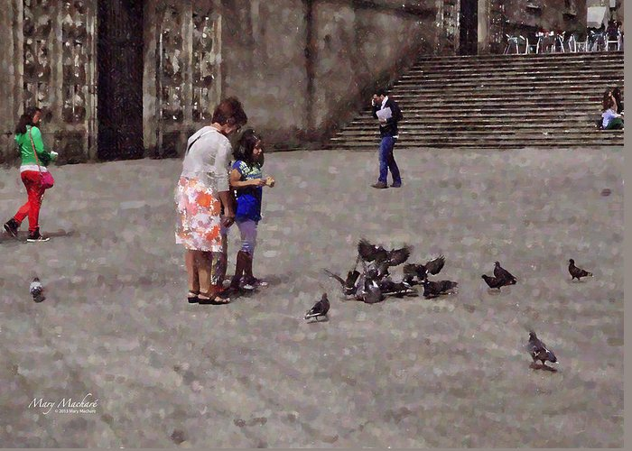 Cathedral Of Santiago De Compostela In Galicia Greeting Card featuring the digital art Feeding Pigeons In Santiago De Compostela by Mary Machare