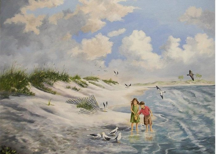 2 Children Greeting Card featuring the painting Feeding The Wildlife by Wanda Dansereau