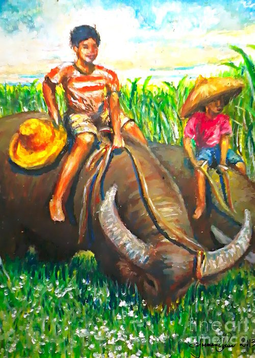 Water Bufallo Greeting Card featuring the painting Feeding Water Buffalo by Joemarie Chua