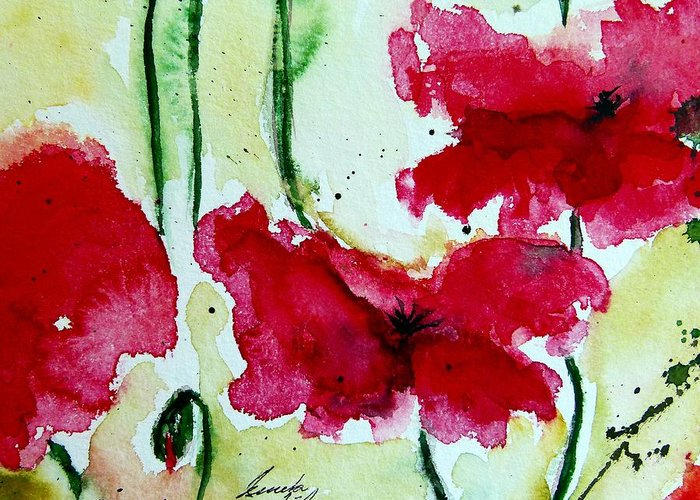 Abstract Greeting Card featuring the painting Feel The Summer 2 - Poppies by Ismeta Gruenwald