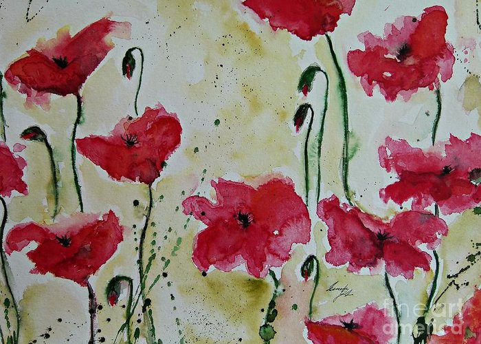 Abstract Greeting Card featuring the painting Feel The Summer - Poppies by Ismeta Gruenwald