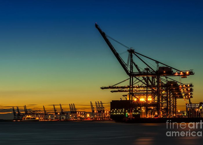 Bay Greeting Card featuring the photograph Felixstowe Docks by Svetlana Sewell