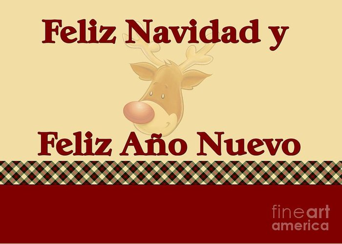 Ano Greeting Card featuring the digital art Feliz Navidad Reindeer by JH Designs