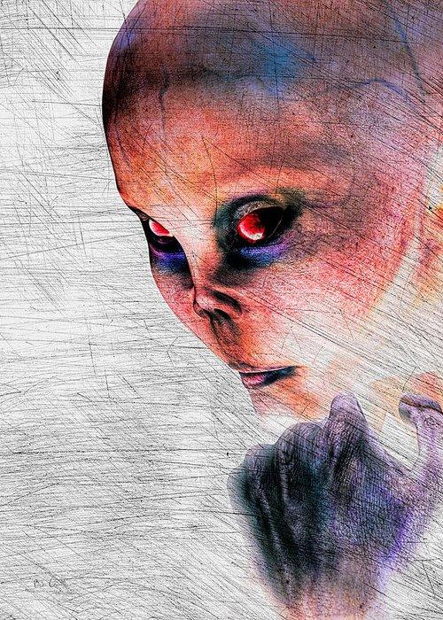 Alien Abduction Greeting Card featuring the digital art Female Alien Portrait by Bob Orsillo