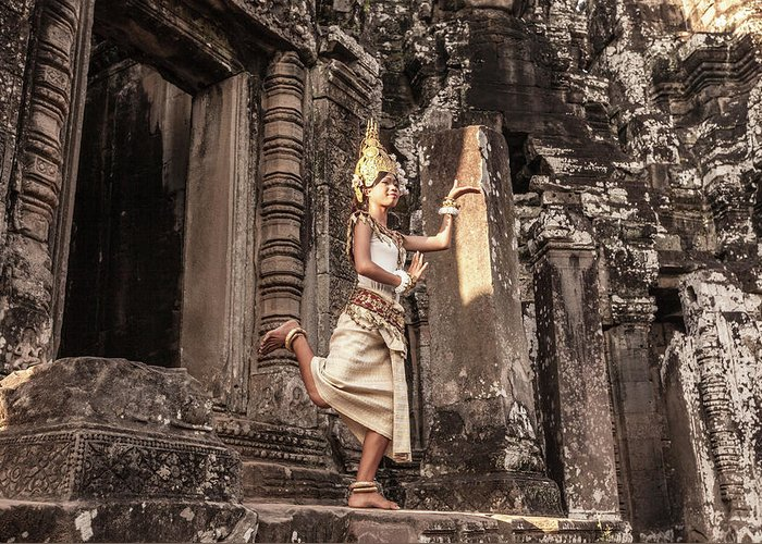 Hinduism Greeting Card featuring the photograph Female Apsara Dancer, Standing On One by Cultura Exclusive/gary Latham