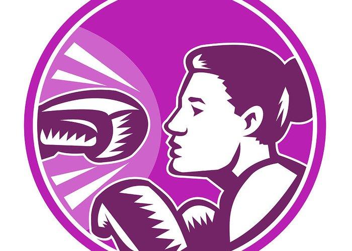 Boxer Greeting Card featuring the digital art Female Boxer Punch Retro by Aloysius Patrimonio