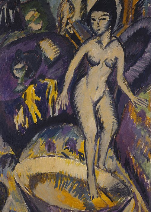 Kirchner Greeting Card featuring the painting Female Nude With Hot Tub by Ernst Ludwig Kirchner