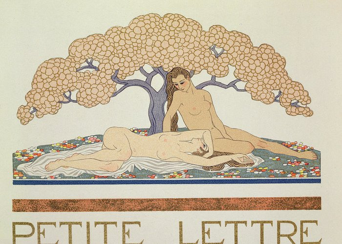 Nude Greeting Card featuring the painting Female Nudes by Georges Barbier