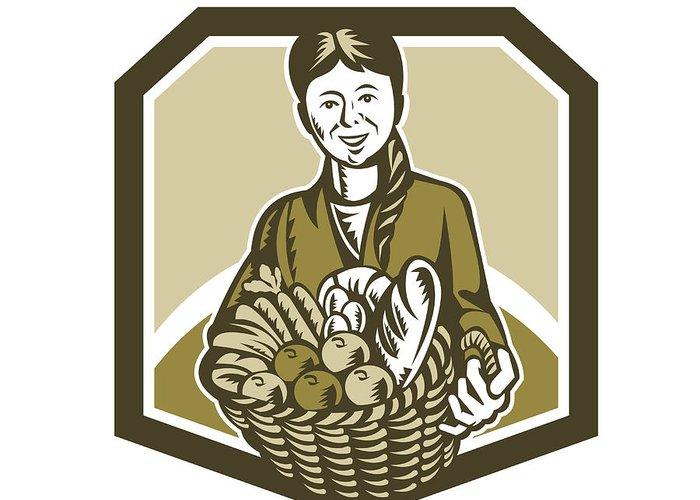 Organic Farmer Greeting Card featuring the digital art Female Organic Farmer Crop Harvest Woodcut by Aloysius Patrimonio