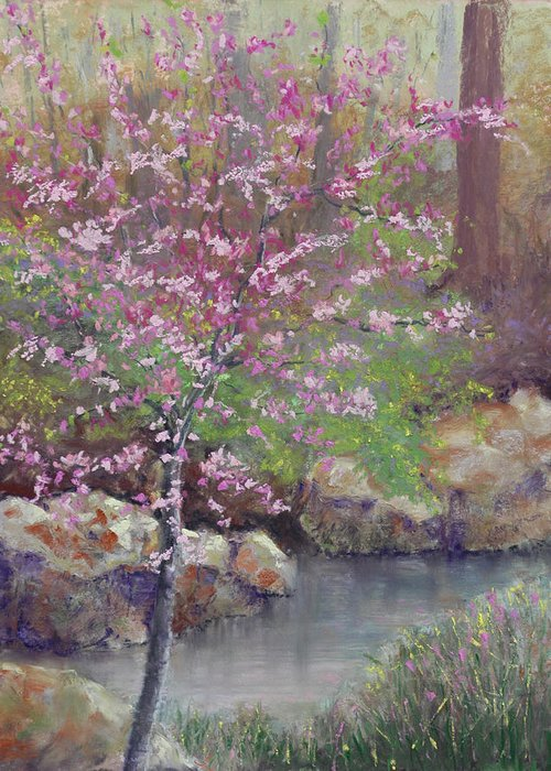 Redbud Greeting Card featuring the pastel Femme Osage Spring by Lorraine McFarland