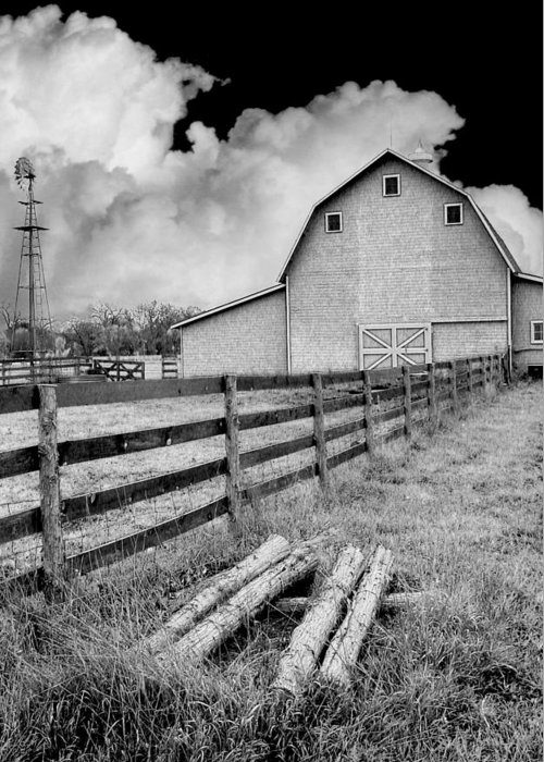 Barn Greeting Card featuring the photograph Fence Posts And Barn by John Anderson