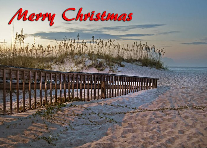 Christmas Greeting Card featuring the digital art Fence To The Beach by Michael Thomas