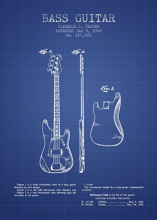 Fender Greeting Card featuring the digital art Fender Bass Guitar Patent From 1960 - Blueprint by Aged Pixel