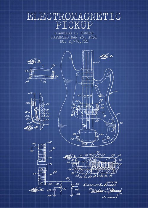 Fender Greeting Card featuring the digital art Fender Guitar Patent From 1961 - Blueprint by Aged Pixel