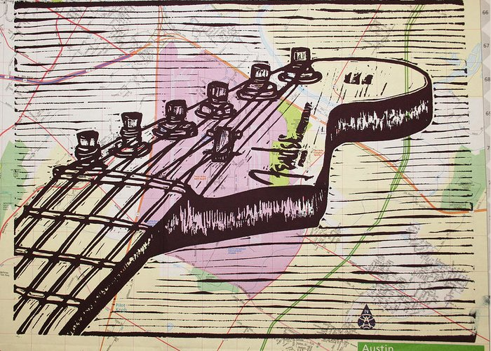 Fender Greeting Card featuring the drawing Fender Strat On Map by William Cauthern