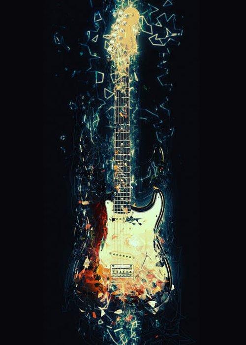 Fender Stratocaster Greeting Card featuring the digital art Fender Strat by Zapista Zapista