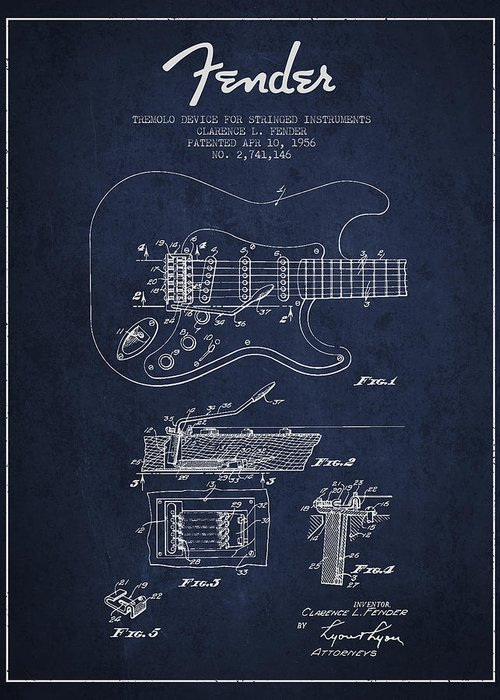 Fender Greeting Card featuring the drawing Fender Tremolo Device Patent Drawing From 1956 by Aged Pixel