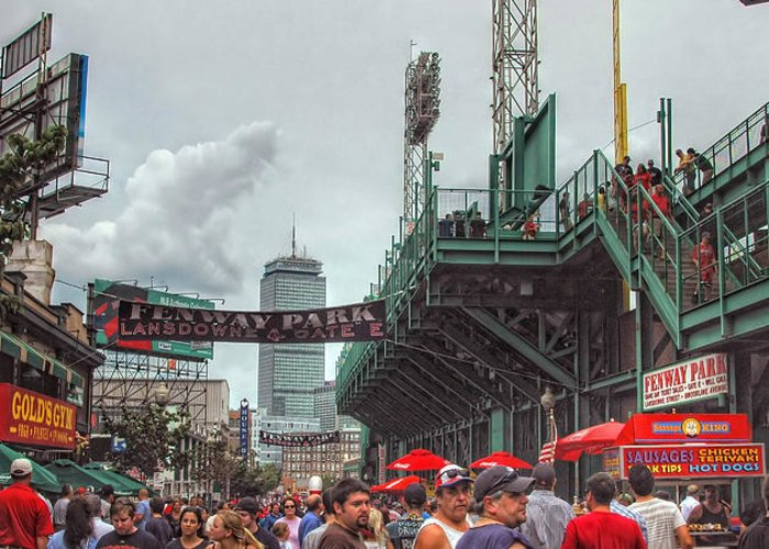 Red Sox Greeting Card featuring the photograph Fenway Bustle by Joann Vitali