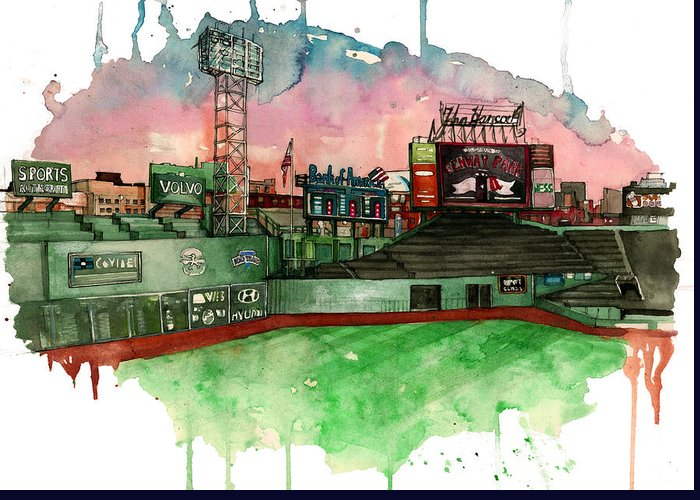 Fenway Park Greeting Card featuring the painting Fenway Park by Michael Pattison