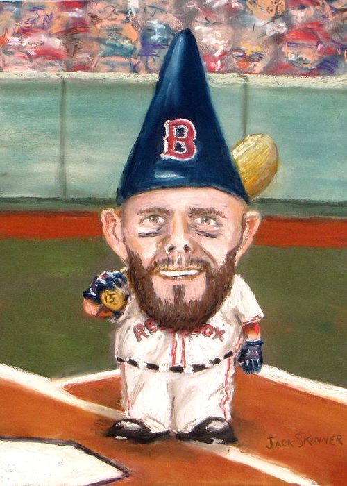 Boston Red Sox Greeting Card featuring the painting Fenway's Garden Gnome by Jack Skinner