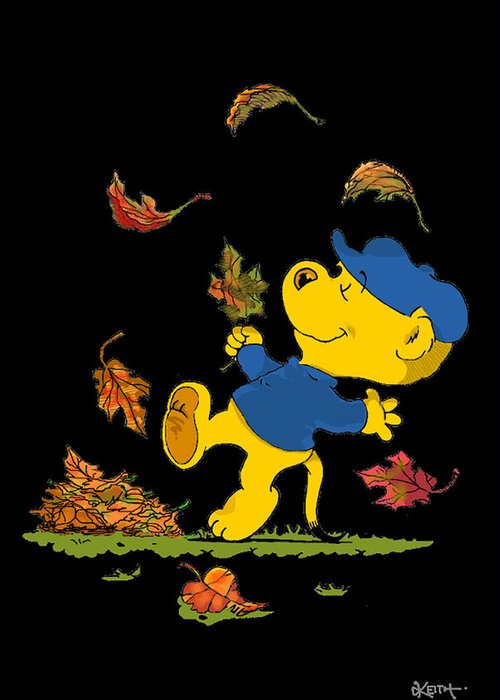 Ferald Greeting Card featuring the drawing Ferald Dancing Amongst The Autumn Leaves by Keith Williams