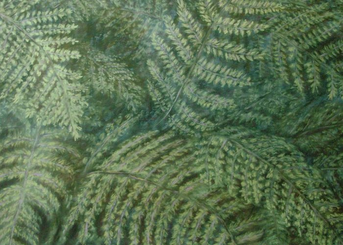 Pastel Greeting Card featuring the pastel Fern Frenzy by Joann Renner