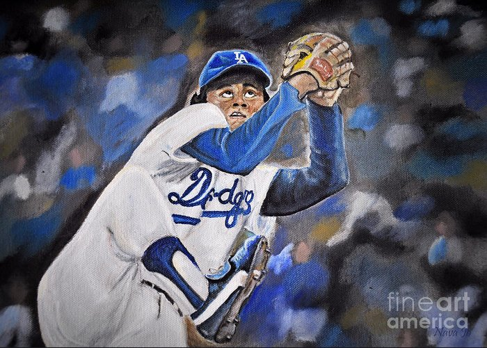 Nava Jo Thompson Greeting Card featuring the photograph Fernando Valenzuela by Nava Thompson