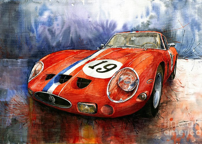 Watercolour Greeting Card featuring the painting Ferrari 250 Gto 1963 by Yuriy Shevchuk