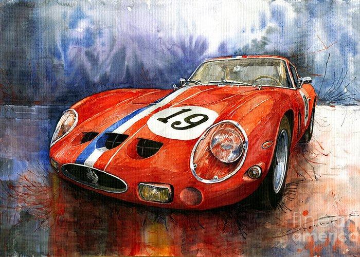 Watercolour Greeting Card featuring the painting Ferrari 250 Gto 1963 by Yuriy Shevchuk