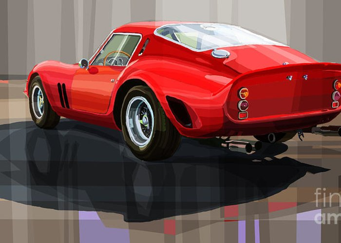 Automotive.digital Greeting Card featuring the digital art Ferrari 250 Gto by Yuriy Shevchuk