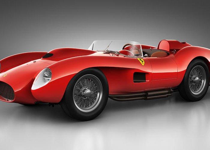 Transportation Greeting Card featuring the digital art Ferrari 250 Testa Rossa - Spirit by Marc Orphanos