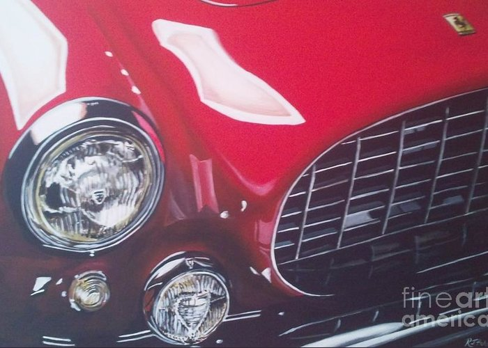 Ferrari Greeting Card featuring the painting Ferrari 342 by Richard John Holden RA