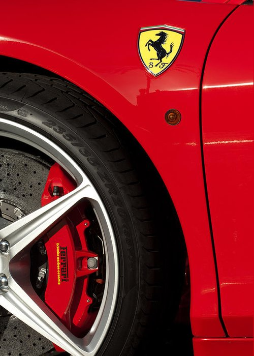 Ferrari Emblem Greeting Card featuring the photograph Ferrari Emblem 3 by Jill Reger