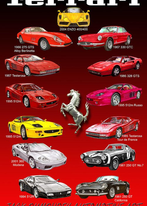 Framed Prints Of Ferrari Art Greeting Card featuring the painting Ferrari Poster Art by Jack Pumphrey