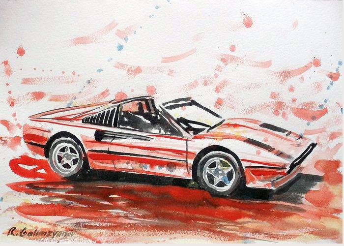 Ferrari Greeting Card featuring the painting Ferrari by Ildus Galimzyanov