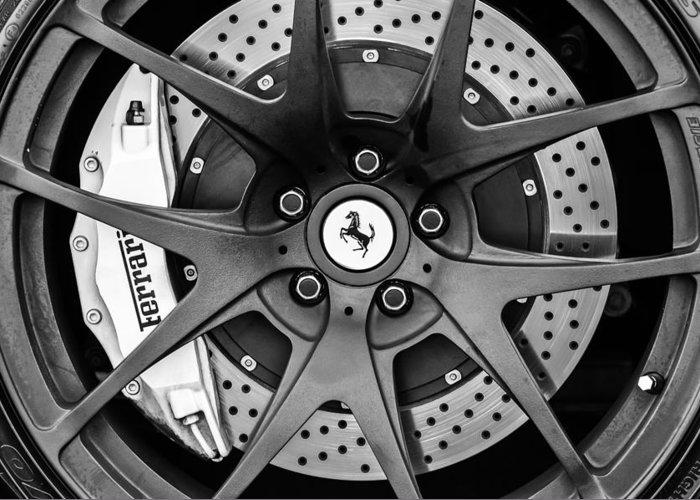 Ferrari Wheel Emblem - Brake Emblem Greeting Card featuring the photograph Ferrari Wheel Emblem - Brake Emblem -0430bw by Jill Reger