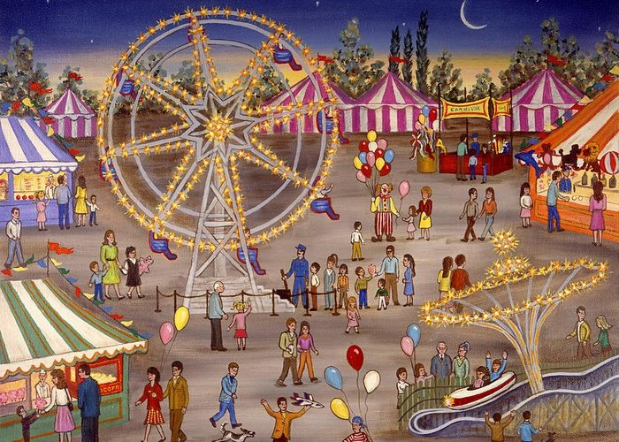 Folk Art Carnival Greeting Card featuring the painting Ferris Wheel At The Carnival by Linda Mears