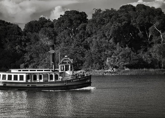 Black And White Greeting Card featuring the photograph Ferry by Mario Celzner
