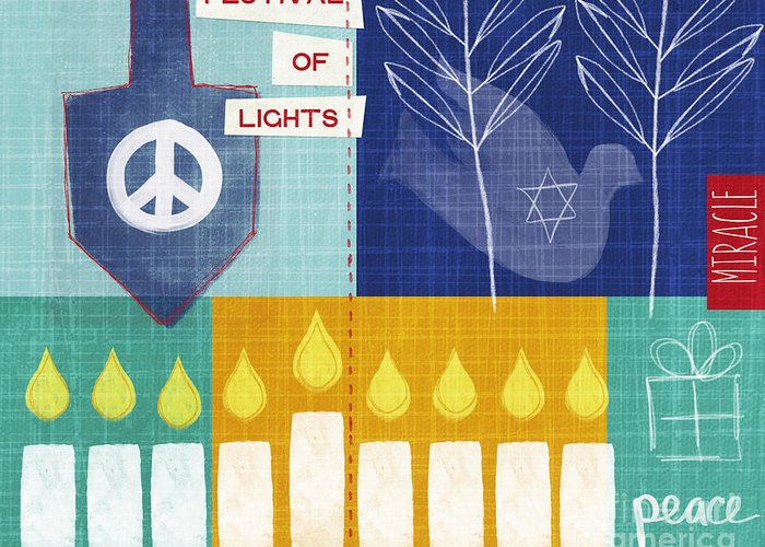 Hanukkah Greeting Card featuring the painting Festival Of Lights by Linda Woods