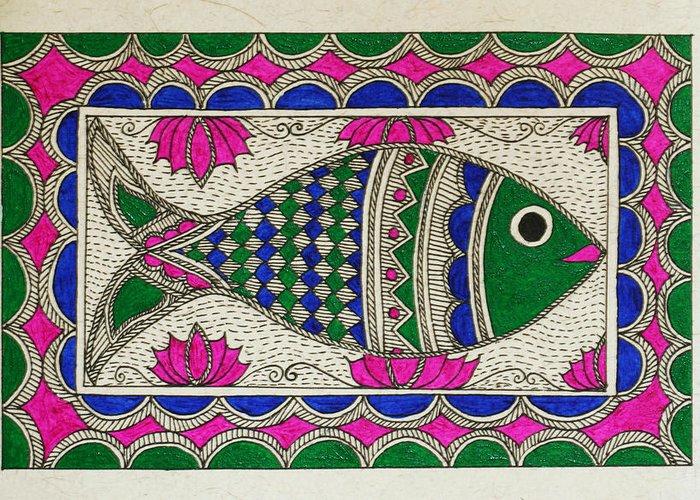 Madhubani Greeting Card featuring the drawing Festive Fish by Neha Dasgupta