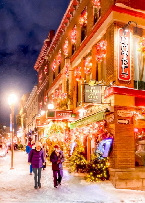 Quebec City Greeting Card featuring the photograph Festive Streets Of Old Quebec by Mark Tisdale