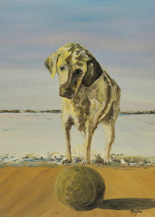 Dogs Greeting Card featuring the painting Fetch by Blythe Quinn