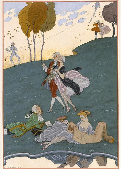 Poem Greeting Card featuring the painting Fetes Galantes by Georges Barbier
