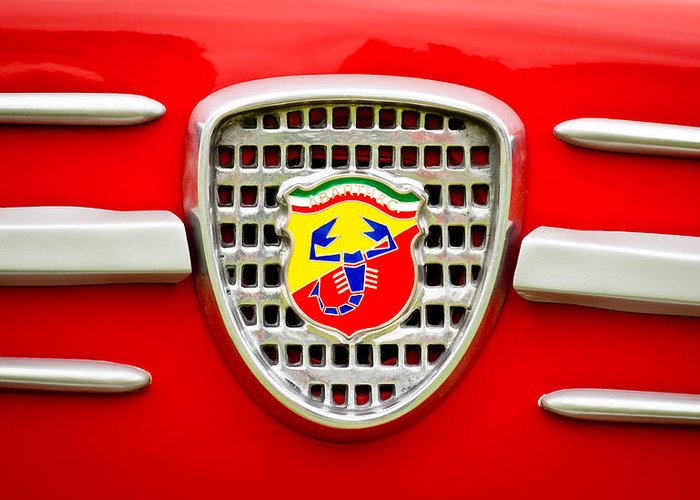 Fiat Greeting Card featuring the photograph Fiat Emblem by Jill Reger