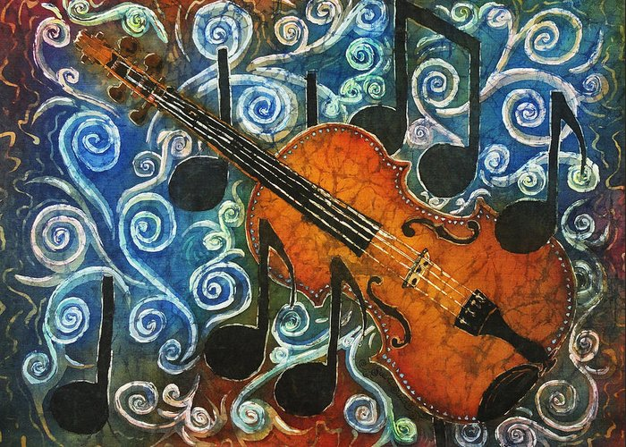 Fiddle Greeting Card featuring the painting Fiddle 1 by Sue Duda
